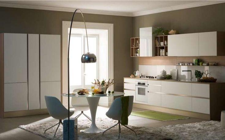Abbinamento colori pareti cucina - Arredi bianchi e pareti verde oliva