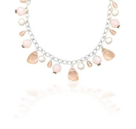 "16.5"" Pink Glass and Cultured Freshwater Pearl Charm Necklace"