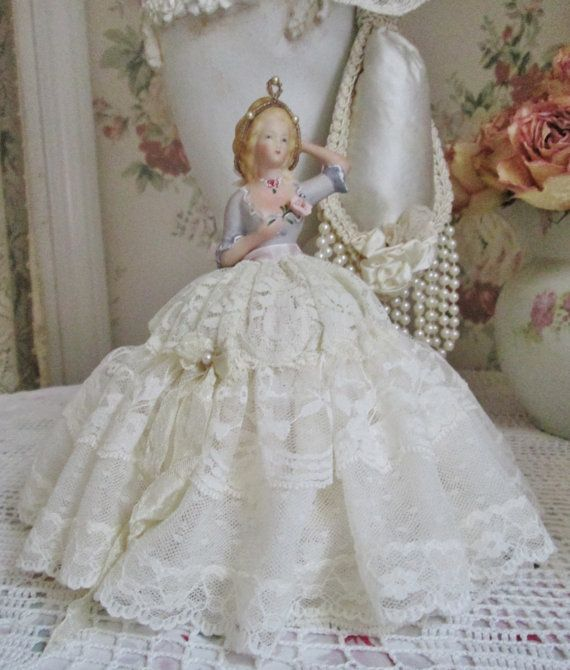 half doll pincushion doll shabby chic vanity di TheGirlyCottage