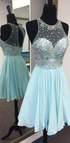Uhc0006 homecoming dresses beaded, A-line, O-neck, Open back, Above knee, short prom dresses