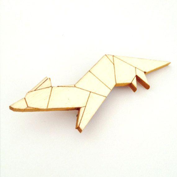 wooden origami fox
