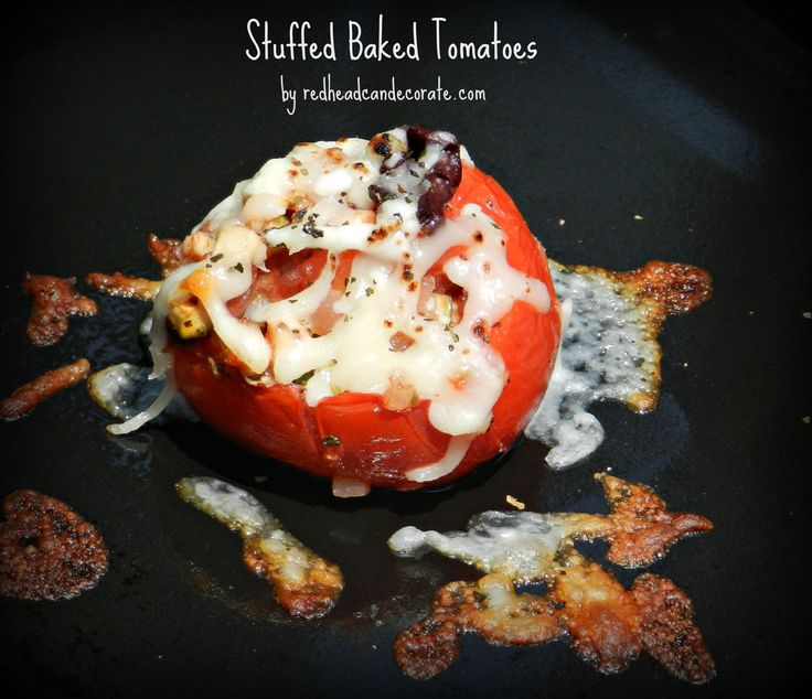 """I am losing weight by not eating processed food and it feels great. No white bread, pasta, rice, crackers, refined sugar. I am eating healthy carbs though. Like tomatoes, and olives. I thought this """"Stuffed Baked Tomatoes"""" recipe up last night and we both loved it. Even little Valerie was stealing the filling before they …"""
