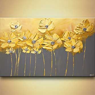 Landscape painting - yellow gray flowers gray background painting home decor art #7905