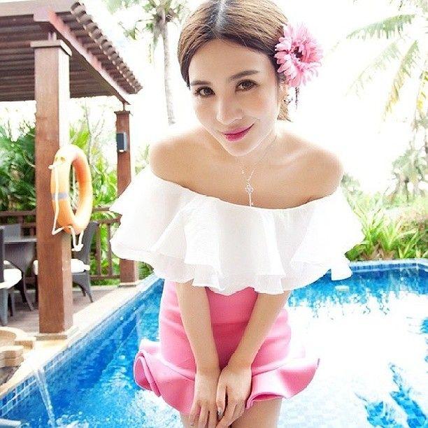 KK9718 Summer Set (Off Shoulder Top + Fish Tail Skirt)