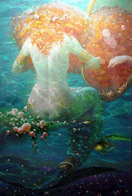Victor Nizovtsev.: Fantasy, Paintings Art, Artists, Mermaids Paintings, Victor Nizovtsev, Sirens, Mirror Mirror, Water Reflection, Greek Mythology