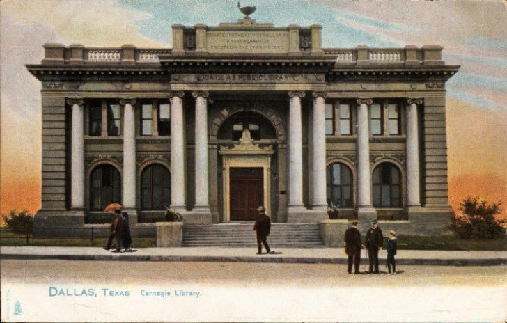 postcard of Dallas Public Library (a Carnegie library) exterior, c. 1906, TX, USA