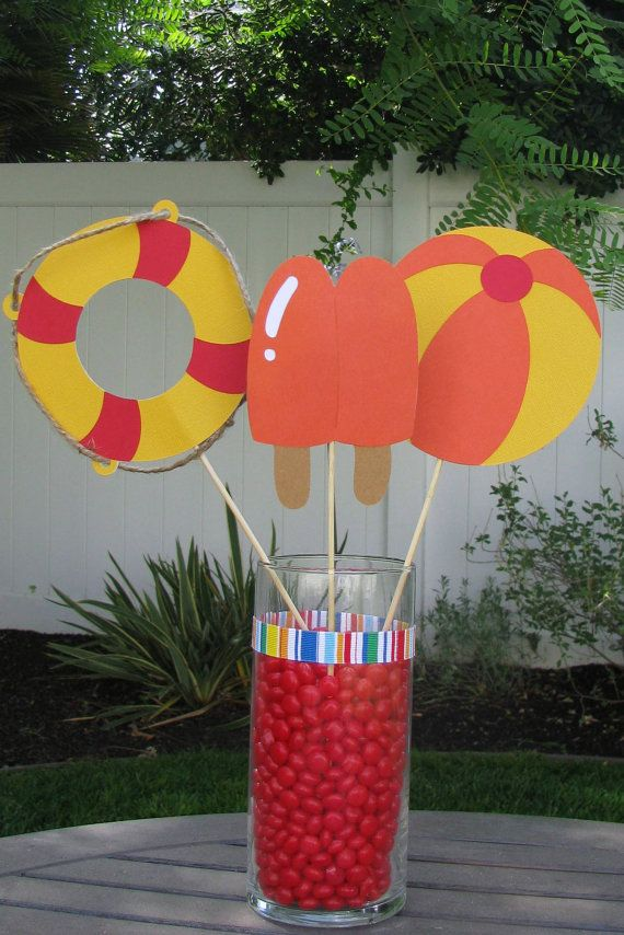 Pool Party Decorations Ideas thoughtful decor will ensure the wow factor for your pool party Pool Party Table Decorations Set Of 3 By Mypaperpantry On Etsy 900 Products I Love Pinterest