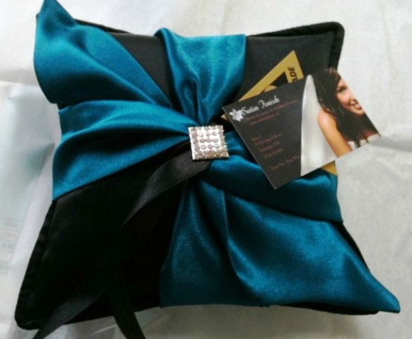 Bling Ring Pillow in black and teal   Please visit my site http://satinfinish.weebly.com/ring-pillows.html to purchase