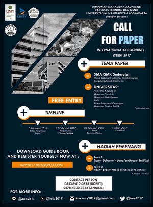 #IAW2017 #InternationalAccountingWeek #CallForPaper #UMY #Yogyakarta International Accounting Week 2017 Call For Paper  DEADLINE: 5 Februari 2017  http://infosayembara.com/info-lomba.php?judul=international-accounting-week-2017-call-for-paper