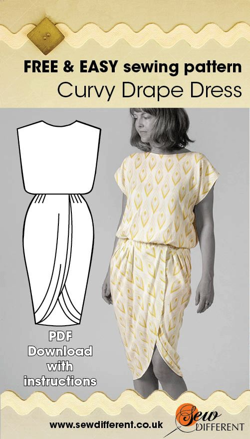 Free sewing pattern!! I love this dress because:  • There are only 2 pieces of fabric to sew together • It only takes 1.5 metres of fabric • It's really flattering – I love the way it gives you an instant hour glass figure
