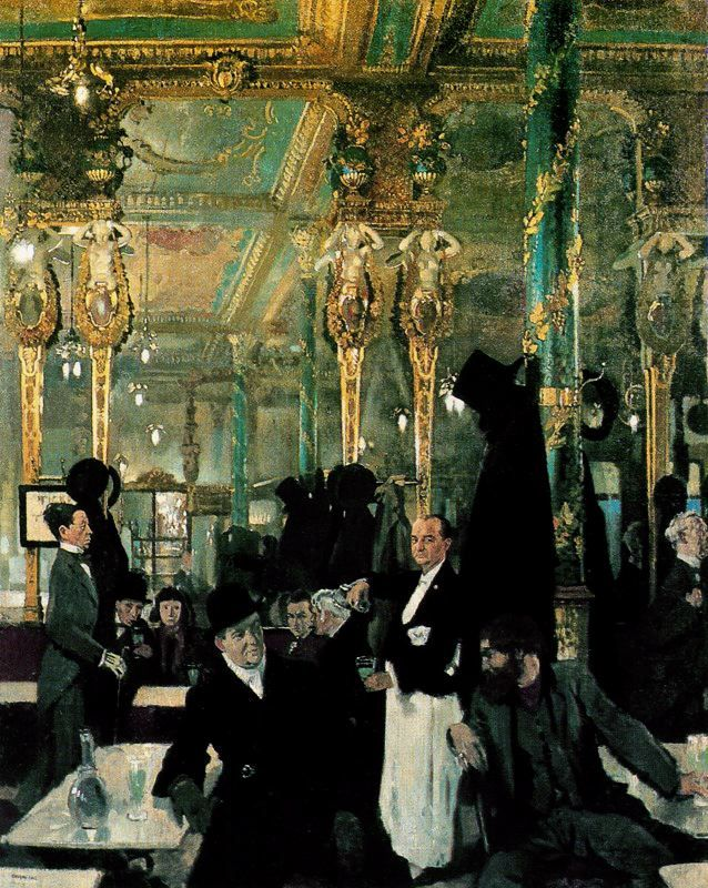 Café Royal, London (1912) by William Orpen. I recently carried out the analysis of the painted decoration in the Cafe Royal http://patrickbaty.co.uk/?p=1810