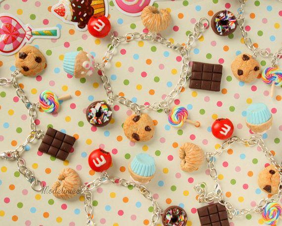 Bracelet miniature sweets cookie donut cupcake by Modeliniec