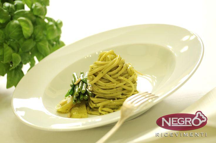 Vegetarian - Trenette con Pesto alla Genovese Italian Traditional Food