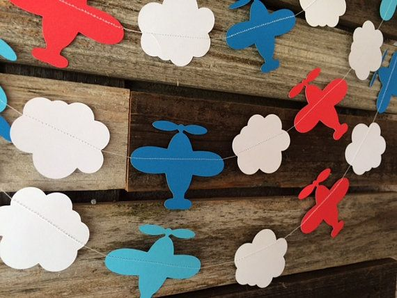 Add a whimsical style to your party with this garland. This listing is for one garland strand of clouds and airplanes. Use it to decorate a