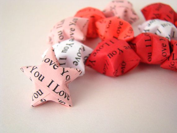 50 Origami Lucky Stars  I Love You by OrigamiDelights on Etsy, $6.50