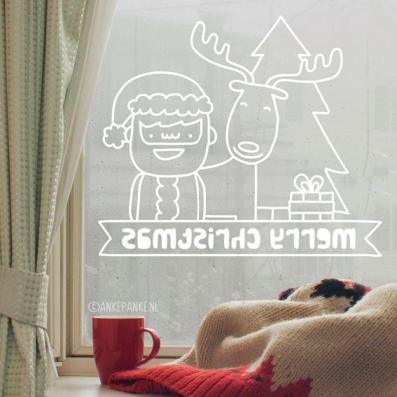 Vrolijke kerstman, rendier, kadootje en kerstboom #raamtekening met 'Fijne feestdagen' of 'Merry christmas' tekst om op je raam te tekenen tijdens de feestdagen.