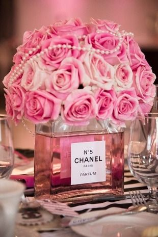"Chanel-themed bridal shower idea - ""Chanel perfume bottle"" centerpieces with pink roses {Ashley Halas Photography LLC}"