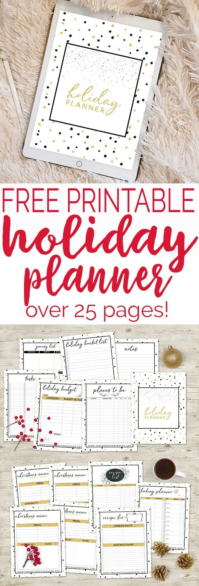 Free printable Complete Holiday Planner! Over 25 pages of everything you need to make this holiday season organized and stress-free!
