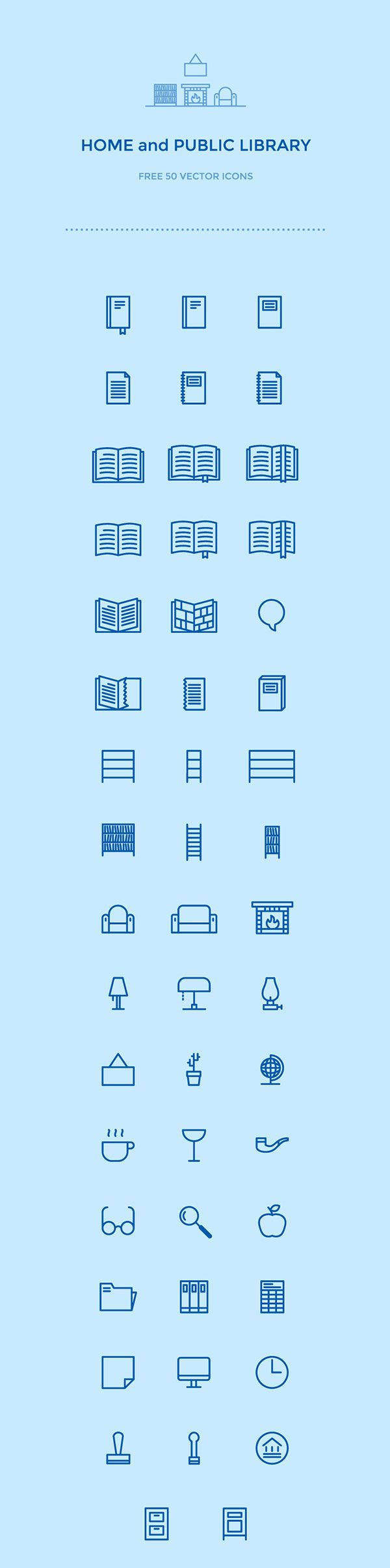 50 free library icons