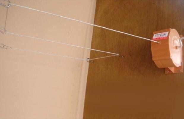 Varal De Parede Recolhivel Retratil De Roupa 30 Metros Branco Nylon Kit Bucha Seca Fácil Para Apartamento Casa Interno Externo - Adrishop - Sua Loja de Variedades