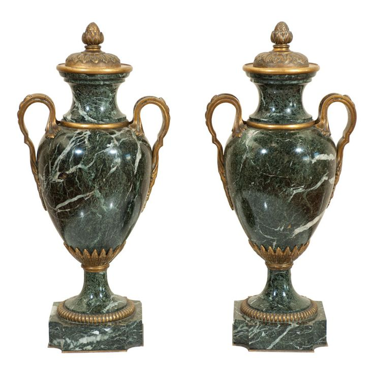 Pair Of Neo-classic Marble Urns | From a unique collection of antique and modern decorative objects at http://www.1stdibs.com/furniture/more-furniture-collectibles/decorative-objects/