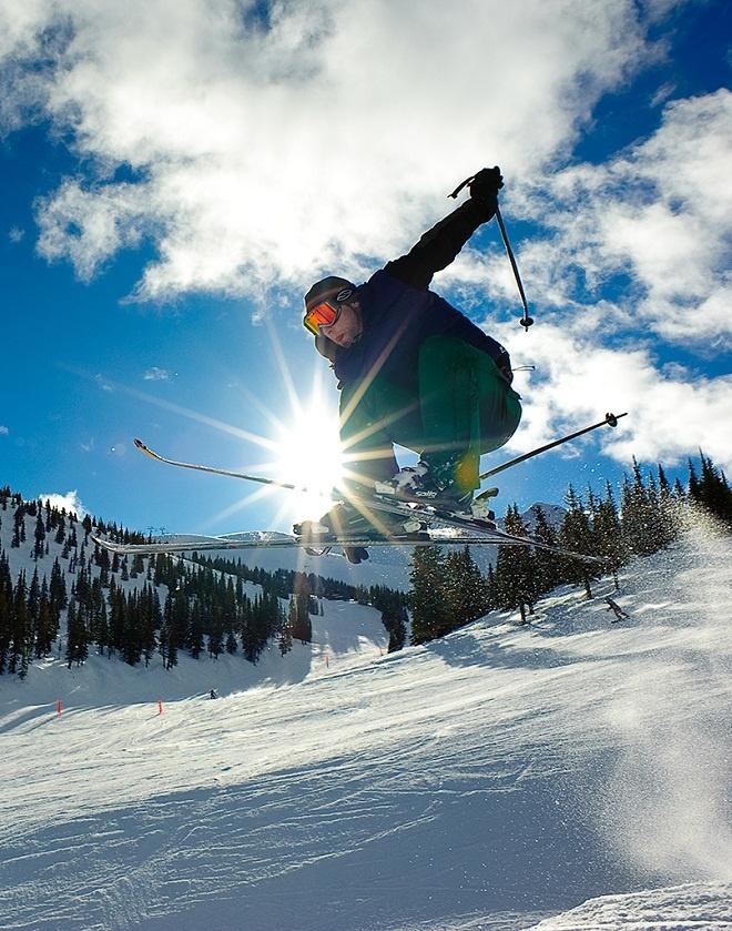 skiing in Jasper National Park.