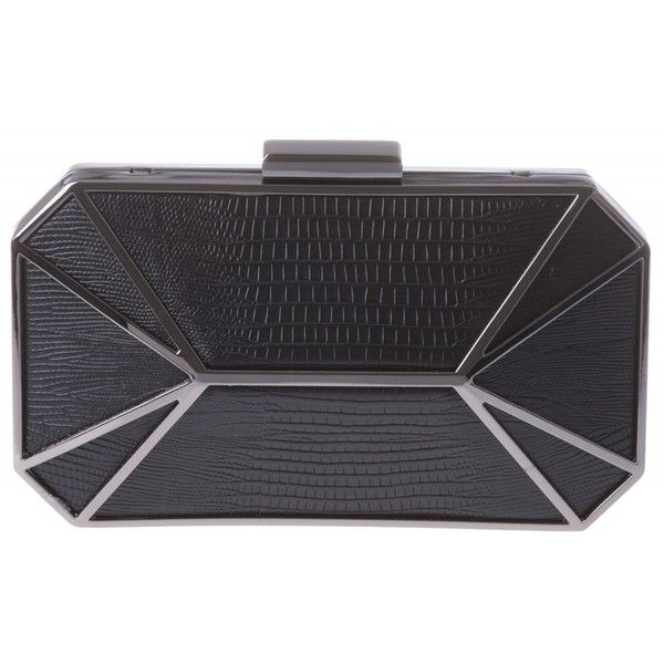 Priss Hardcase Clutch (110 BRL) ❤ liked on Polyvore featuring bags, handbags, clutches, box clutch, black handbags, hard clutch, black clutches and black box clutch
