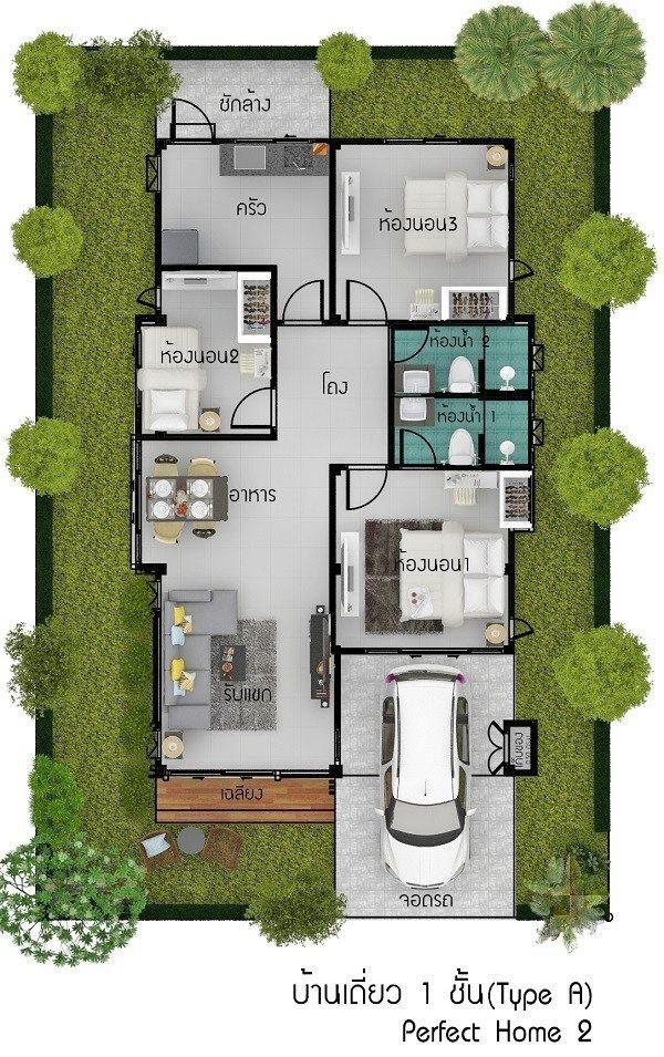 115 Sqm 3 Bedrooms Home Design Idea Home Ideassearch House Design Small House Design Plans My House Plans