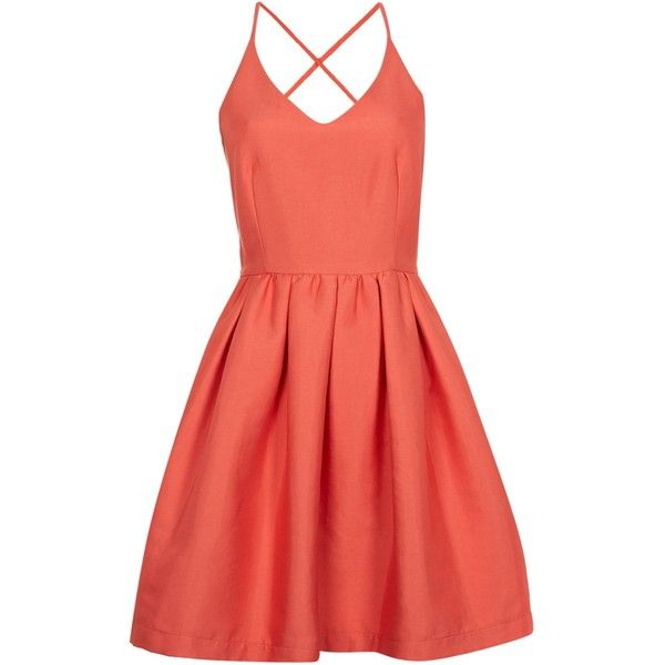 Girls on Film Sleeveless Fit And Flare Dress (€53) ❤ liked on Polyvore featuring dresses, coral, women, v-neck dresses, no sleeve dress, sleeveless dress, red dress and v neck dress