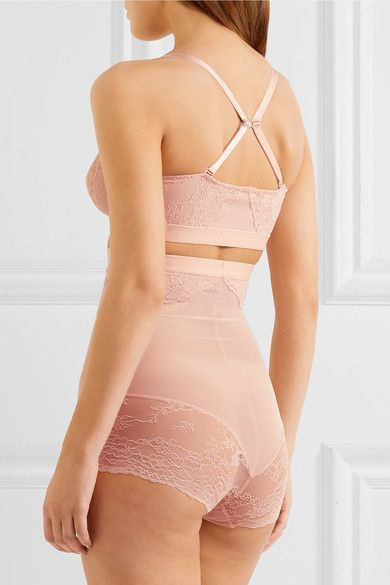 Spanx - Spotlight Stretch-tulle And Lace Soft-cup Bra - Blush - x small