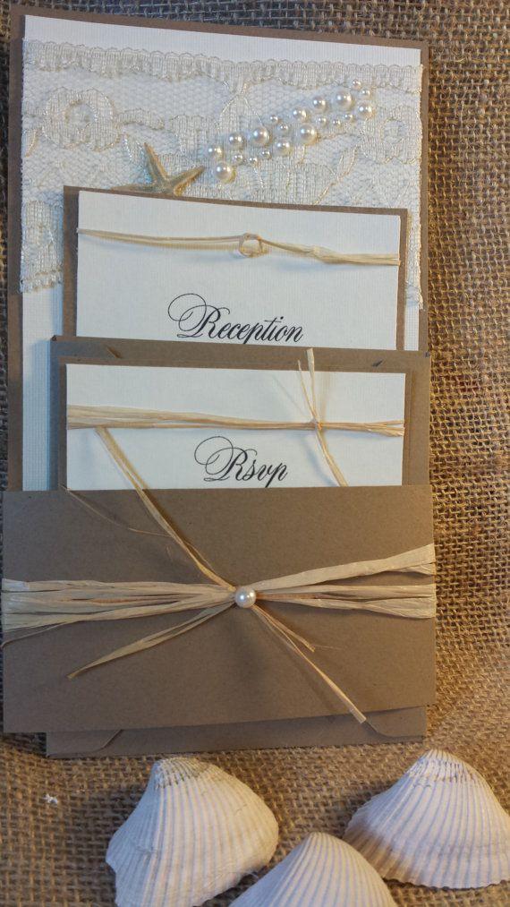 Lace & Pearl Beach Wedding Invitations. Beach Wedding Invitation, Beach/Lake Wedding Theme Invitation. on Etsy, $6.25