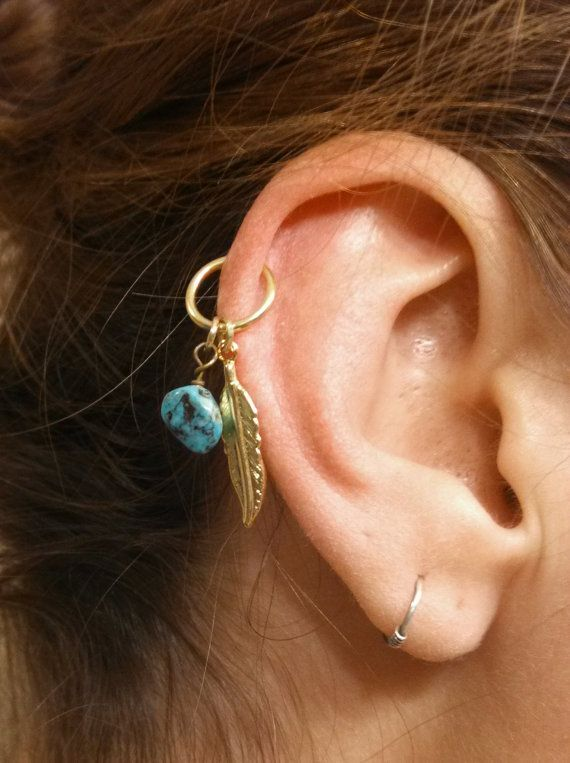 Turquoise Gold Cartilage Hoop Silver Feather Earring Boho ...