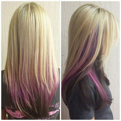 blonde pink and dark hair