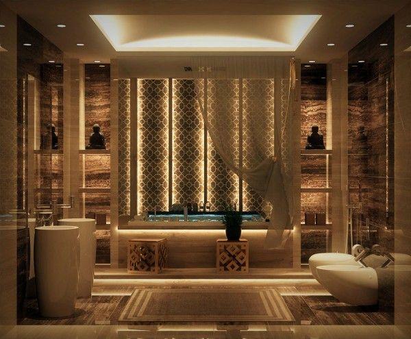 Salle De Bain De Luxe De Design Opulent Et Exotique Modernes Badezimmerdesign Luxus Badezimmer Luxurioses Badezimmer