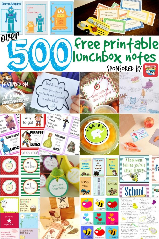 Do you send notes in your kid's lunchbox? Here are over 500 to choose from...and they are free!