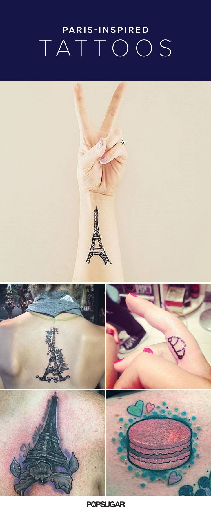 When tragedy strikes, people do extreme things. Whether you lost a loved one in the Nov. 13 terrorist attacks in Paris or just feel devastated by the news, there is a permanent way to honor the victims: a tattoo. We searched the Internet for French-inspired ink ideas that incorporate motifs of Eiffel Towers, macarons, and more. Some make a political statement, and others are pure kitsch. But there is no better time than the present to share your Parisian pride and stand by France.