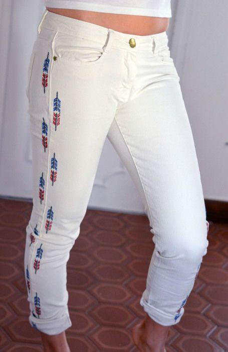 pantalon ZARA blanc aztèque navajos Taille 38