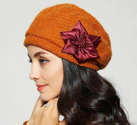 Fashion flower beret hat for women winter hats