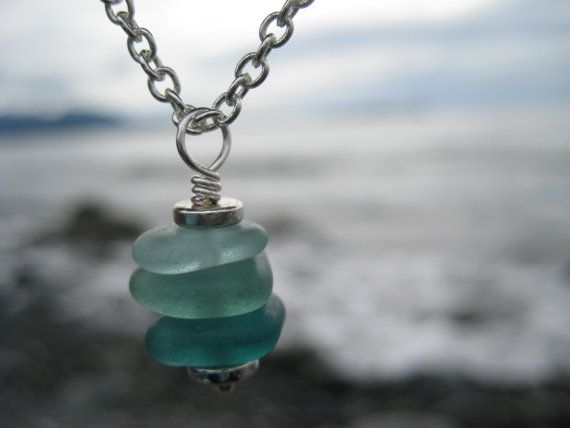 Alaskan Sea Glass Necklace - Stacked Turquoise, Green, Sea Foam
