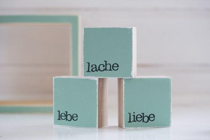 Holzdruck - Mini-Textplatten LEBE LIEBE LACHE - ein Designerstück von iopla bei DaWanda