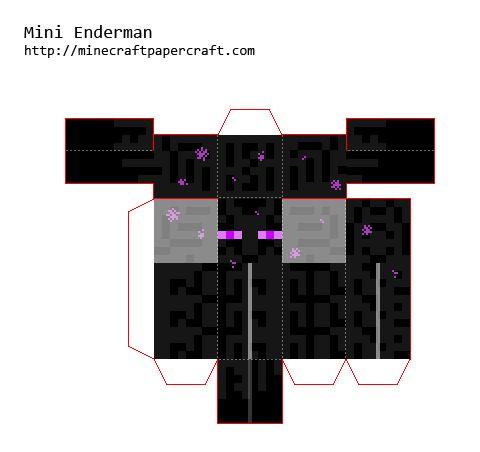 Papercraft Mini Enderman V2 Minecraft Paper Crafts