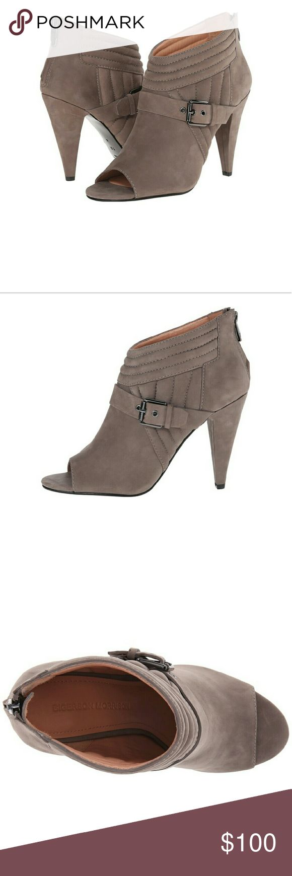 Sigerson Morrison Myla Peep Toe Moto Boots Stunning stone grey nubuck quilted ankle boots with buckle detail. Suede leather upper. Back-zipper. Smooth leather lining. Lightly padded leather footbed. Wrapped heel. Leather outsole. Brand New, never worn. Sigerson Morrison Shoes Ankle Boots & Booties