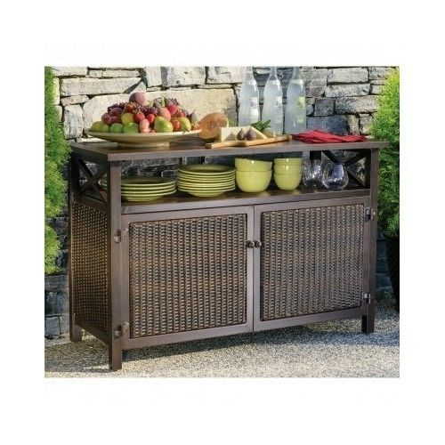 Vintage Outdoor Buffet Wicker Counter Sideboard Console Brown Serving Cabinet Storage