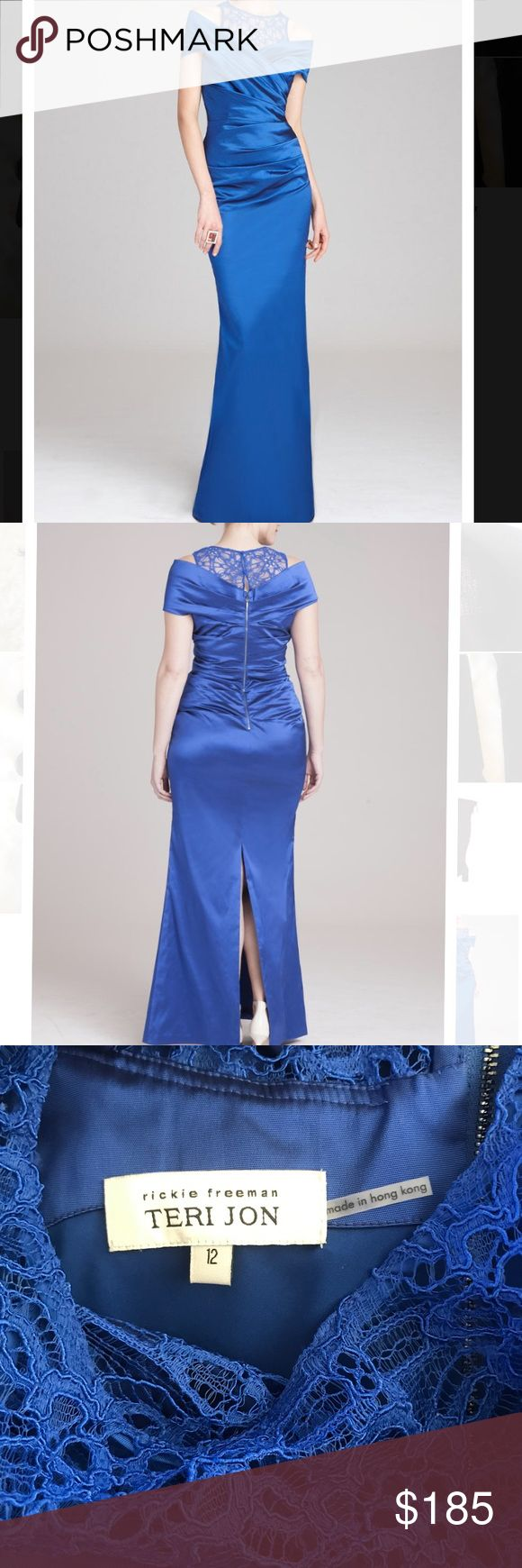 Teri Jon gown. , By adding the lace neckline this evening gown spices up what is classic gown.  - Fabric Content: 72% Acetate, 20% Nylon, 3% Elastane  - Ruching in the front bodice and back  - Lace neckline is the same in the back  - Sewn in lining  - Slit  - Exposed zipper down the back middle  - Portrait collar  - Perfect For: Mother of the Bride or Groom, Black Tie Affair, Destination Wedding Size is 12, but they run smaller, so it will be perfect for size 8-10. Rickie Freeman for Teri…