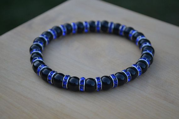 Hey, I found this really awesome Etsy listing at https://www.etsy.com/listing/457448892/thin-blue-line-bracelet-onyx-sapphire
