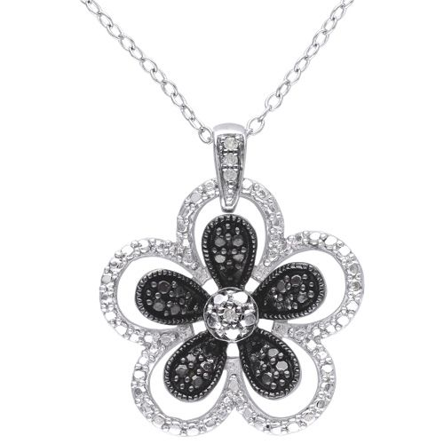 Amour Sterling Silver with Black  #Iwantthisformom  Iwantthisformom as it represents to me how she helped me blossom as a child and into adulthood.  I would love to see her wear this diamond flower pendant when she is line dancing with her friends as it would twinkle as she whirls around the dance floor.
