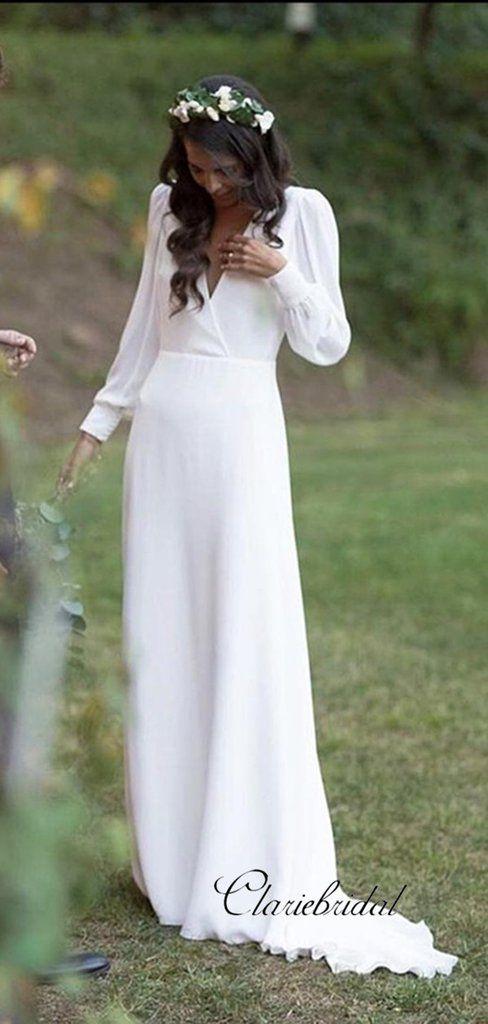 Cheap Long Sleeve Wedding Dresses, Deep V-neck Chiffon Wedding Dresses