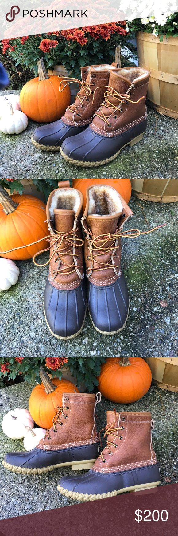 one day saleLL bean shearling lined bean boots LL bean sherling lined bean boots. Worn once and are in excellent condition! Super warm and perfect for fall. Purchased at the LL bean store in Maine. (I loving living one state away from this store!) Comes from a smoke free home. No trades and my price is firm on this listing unless you'd like to make a bundle with other items. Thanks for looking. L.L. Bean Shoes Ankle Boots & Booties