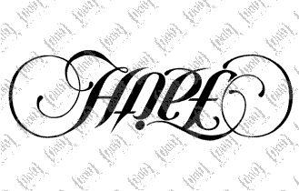 faith & hope - an ambigram tattoo