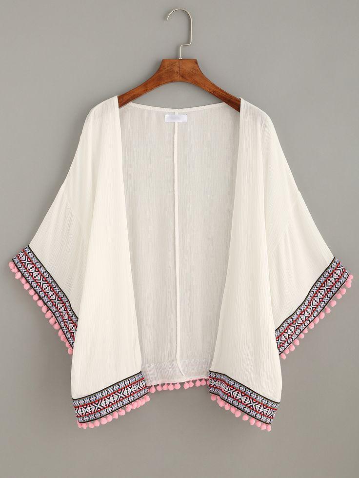 Kimono pompones bordado - blanco-Spanish SheIn(Sheinside)